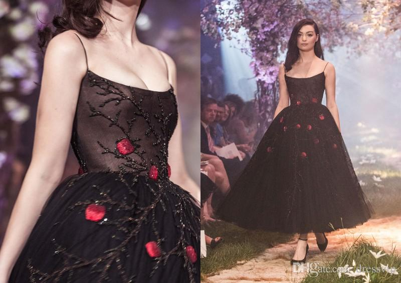 Polo Sabastian Spaghetti Black Prom Dresses Ankle Length Illusion Sexy Evening Gown Lace Beads Sequins Formal Dress Party Wear