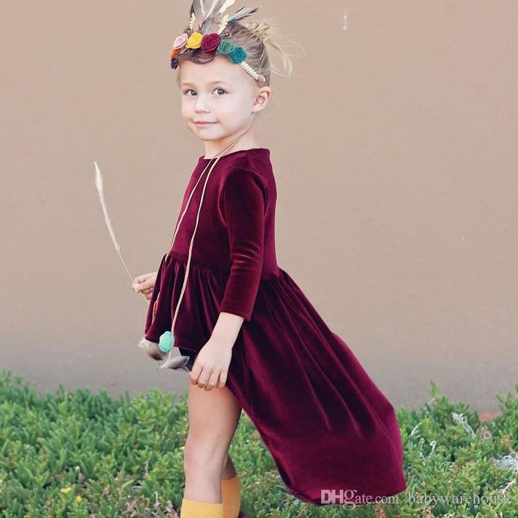 73acb5be4c 2019 Infant Baby Girls Clothes Gold Velvet Dress Kids Long Sleeve Retro  Dress Princess Party Asymmetrical Pleuche Girls Dresses Spring Autumn From  ...
