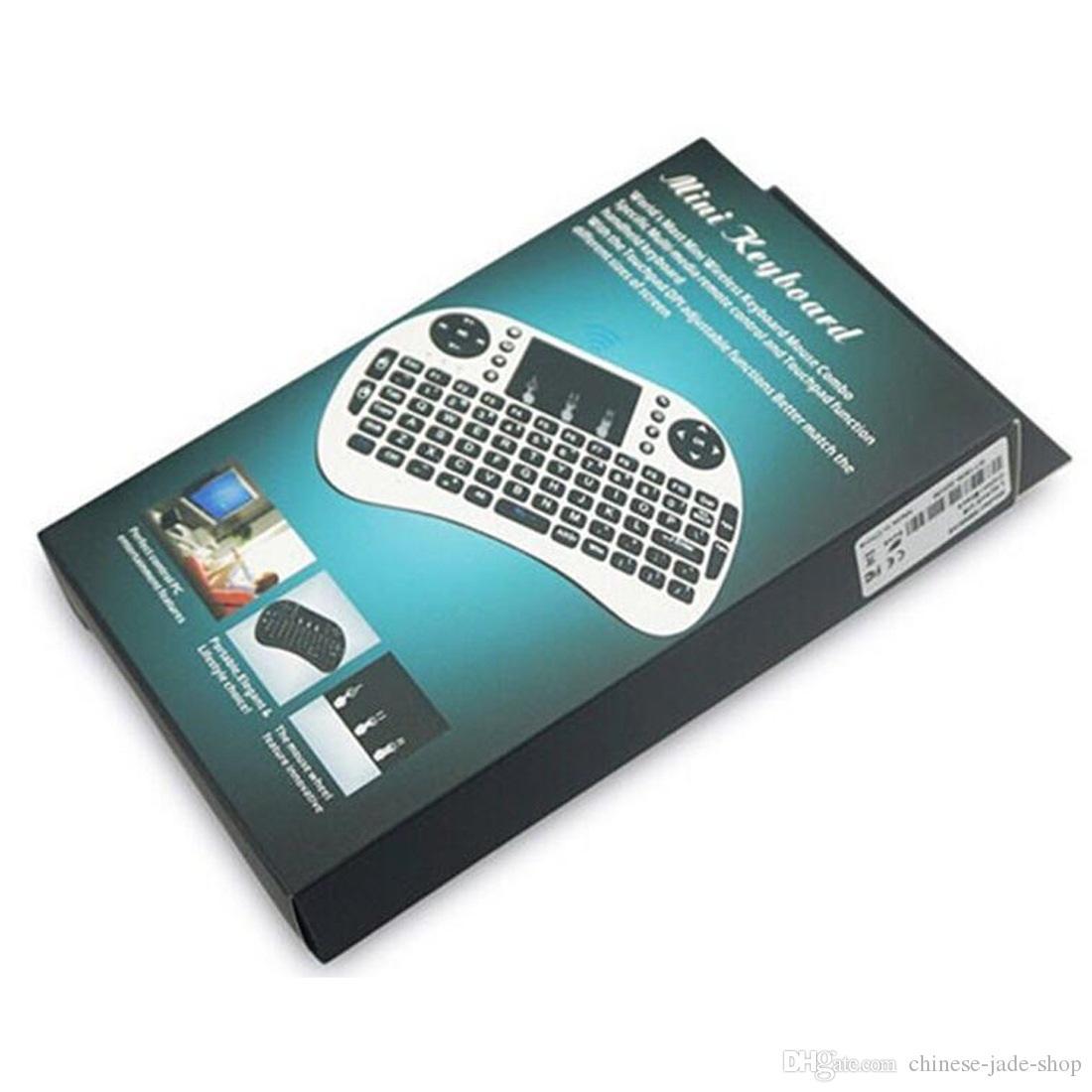 Mini RII I8 Teclado inalámbrico 2.4G Mouse de aire Mouse Remoto Control TouchPAD Retroiluminación Retroceso para Smart Android TV Caja Tablet PC Inglés