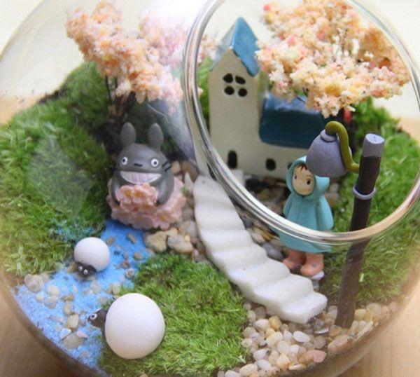 2018 mini resin crafts decoration miniature totoro pot - Terrarium decoration miniature ...