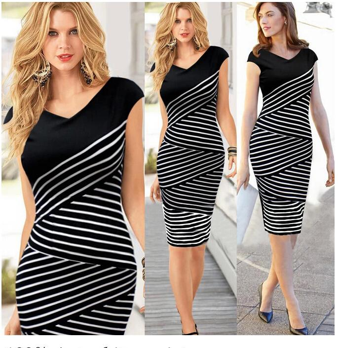 Women Elegant Slim Sexy Bodycon Dress Cocktail Party Bohemian Casual Dresses Retro Geometric white and black strip Lady's Dress S-XL S04