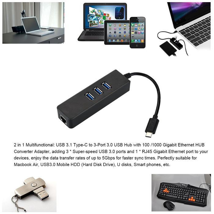 USB 3.1 Type C type-c à Gigabit Ethernet Réseau + USB 3.0 Hub 3-Port Câble LAN Adaptateur Noir Pour Macbook Chromebook