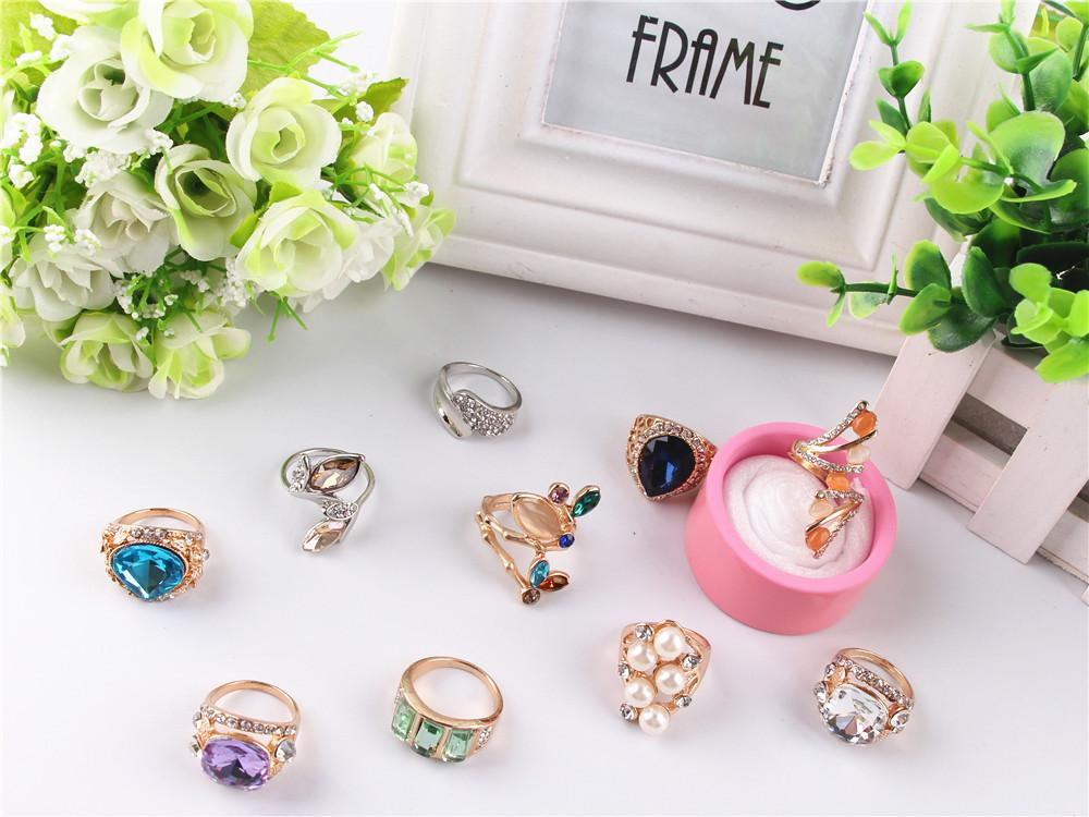 Mix order new Style 30pcs/lot luxury gem pearl The crystal Gold plated ring Star of big shop sign lady/girl Fashion ring
