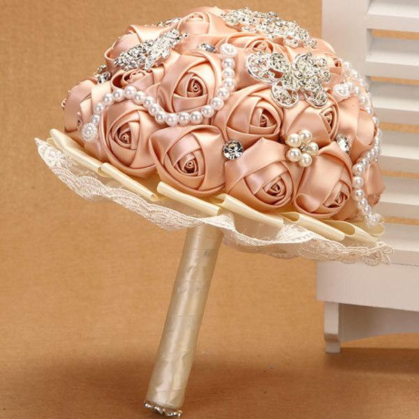 Satin bouquet real touch artificial flowers artificial bush flow description item typeflower bouquets fine or fashionfashion styleromantic genderwomen material satin pearl crystal occasion wedding metals mightylinksfo Gallery