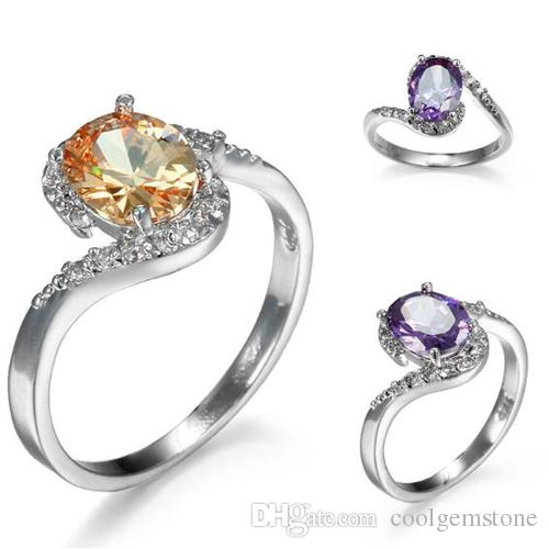 LuckyShine Gorgeous Woman Gift Oval Amethyst Morganite Gemstone 925 Silver Cubic Zirconia Wedding Rings Jewelry