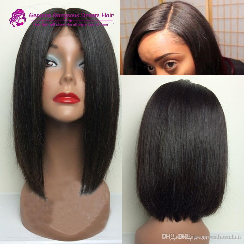 Middle Part 100% Brazilian Hair Straight Short Bob Wig Lace Front Wig  Glueless Full Lace Wigs With Bleached Knots Medium Length Wigs Quality Lace  Wigs From ... 682331c4d