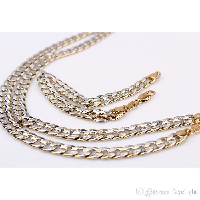 ensembles de bijoux en or 18 carats rempli GF 2 tons pringting trottoir chaine cubaine 9mm bracelet collier 8.66