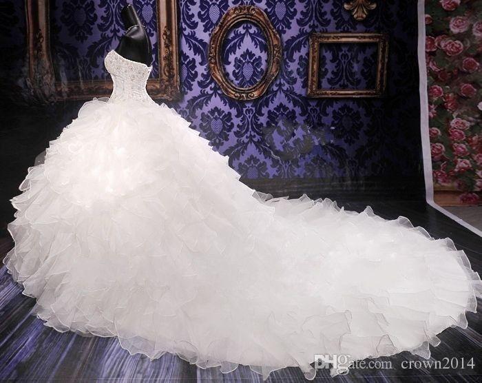 2019 Lüks Boncuklu Nakış Gelinlikler Prenses Elbisesi Sevgiliye Korse Organze Ruffles Katedrali Balo Gelinlik Ucuz