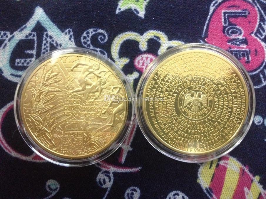 3 pçs / lote frete grátis, o London 2012 campeão olímpico atletas russos banhado a ouro moeda comemorativa