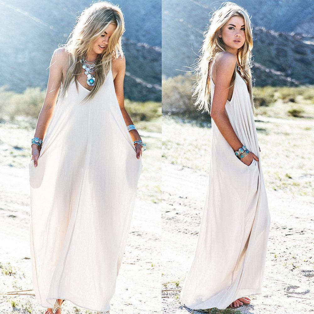2015 New European Style Cotton Maxi Dress Solid Color
