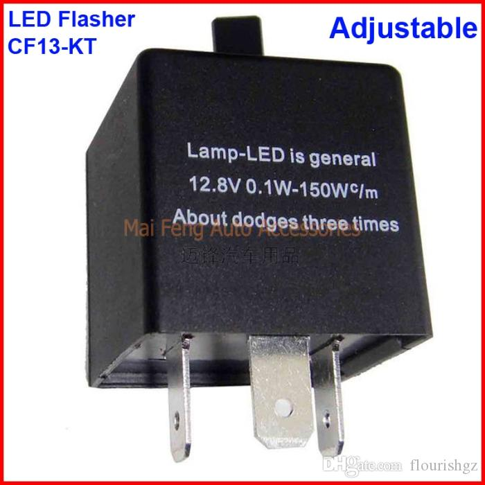 CF13-KT LED Flasher Adjustable Color 3 Pin Electronic Relay Module Fix Car LED SMD Turn Signal Error Flashing Blinker 12V 0.02A TO 20A