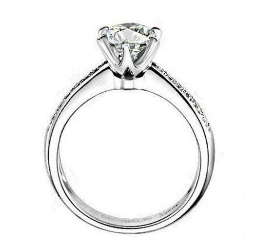 Fine Silver Sona Lab Diamond Wedding Rings for WomenWhite Gold