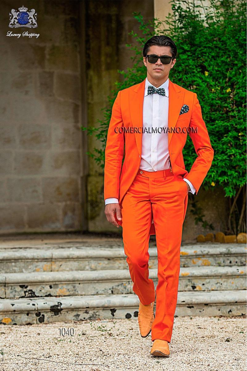 Sunshine Energetic Orange Tailcoat Peaked Lapel Groom Tuxedos Slim ...