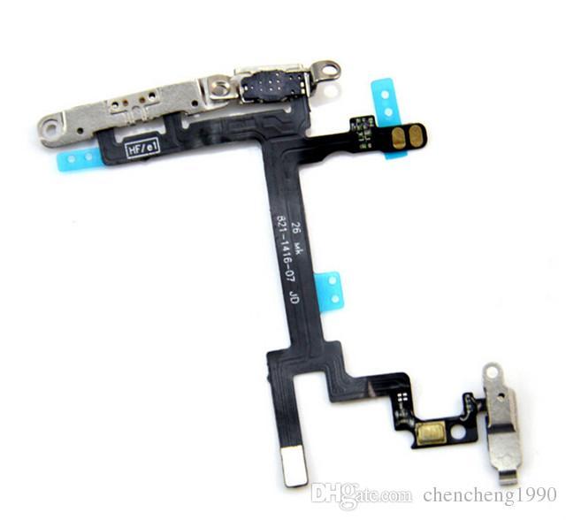 Iphone5 için YENI Orijinal 5 s 5c Yedek Güç Düğmesi Ses Düğmesi Anahtarı Uyku Uyandırma Flex Kablo Metal Dirsek iPhone 6 Için artı