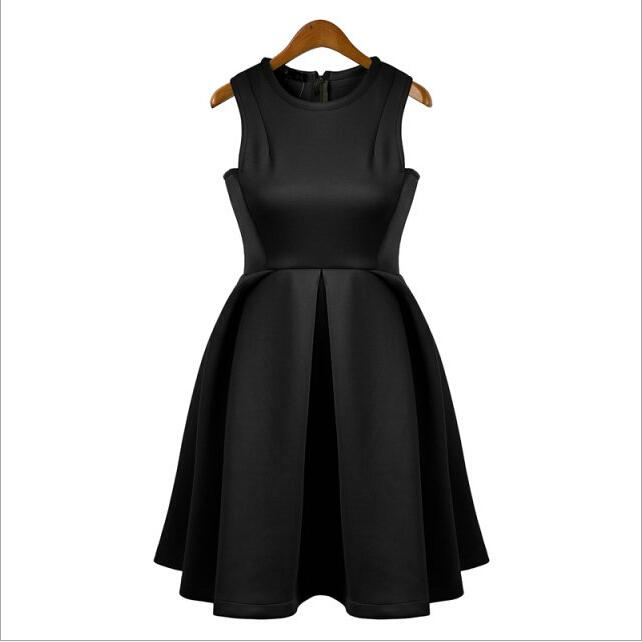 Womens Clothing 2015 Summer Women Fashion Solid Dresses Candy Pleated Sleeveless High Waist Polyester Dress Casual Black Sexy Womens Dresses