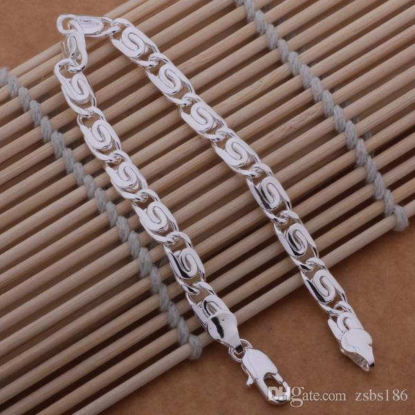 Global Hot Top quality 925 sterling silver plated chain bracelet 6MMX20CM cool fashion Men's Jewelry Factory price