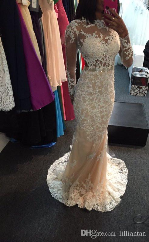 robes de soirée robes de soirée illusion en dentelle blanche sirène à manches longues robe de soirée longue appliques perlées formelles robes de soirée de bal d'étudiants