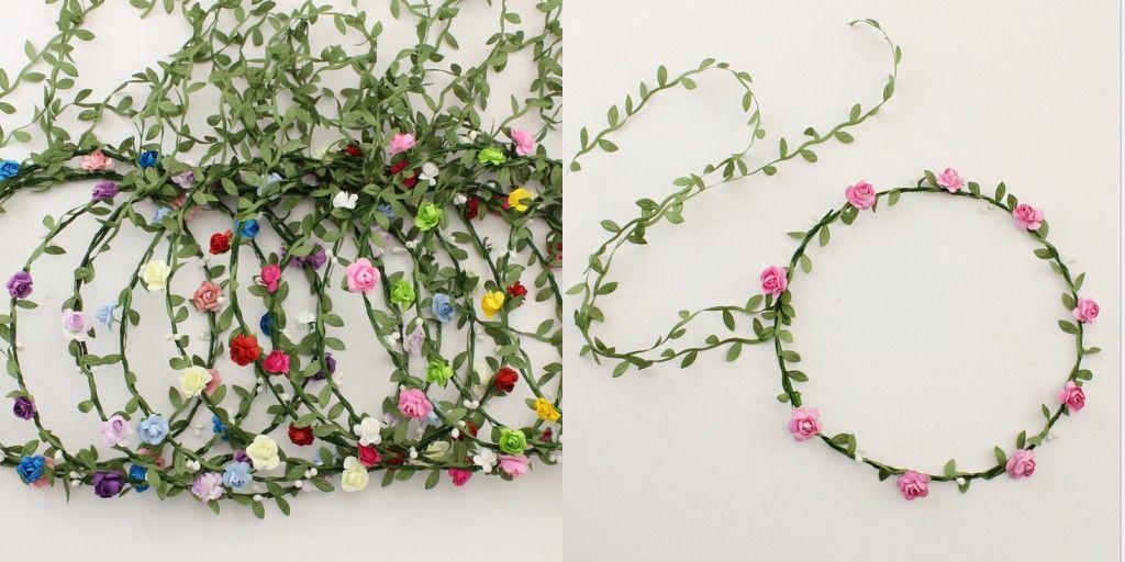 Feitas à mão flor Noiva Boêmio Flor Headband Festival de Natal Guirlanda de Cabelo Floral Faixa de Cabelo Headwear Para A Menina
