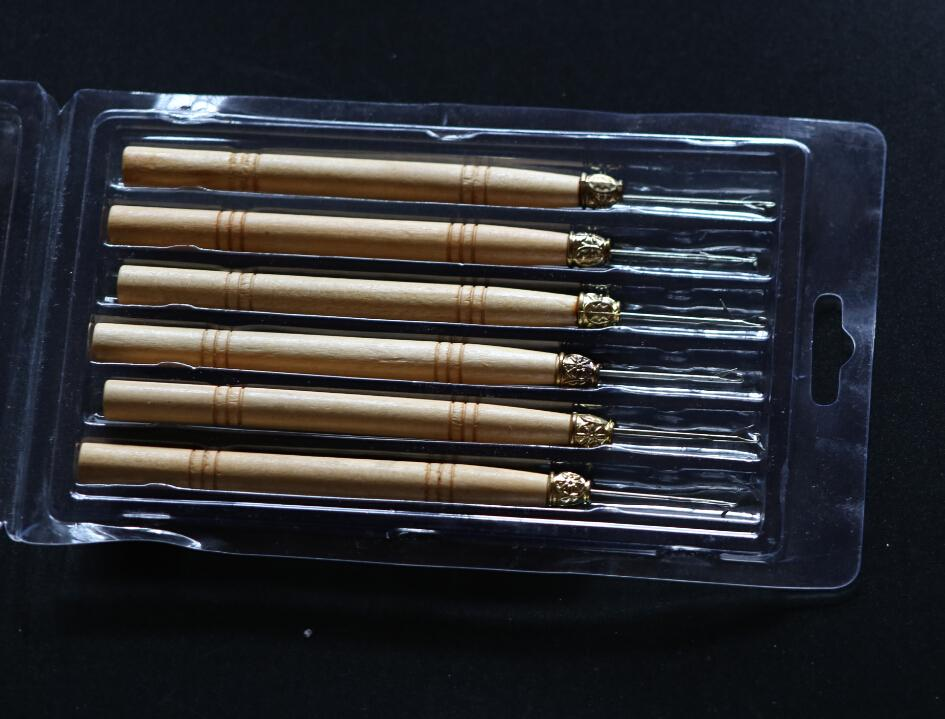 48 peças por lote, Micro Anel Extensão Do Cabelo De Madeira Puxando Agulha Threader Pena Gancho Ferramenta + Frete grátis