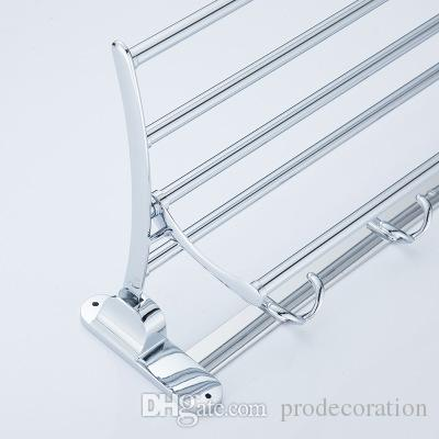 New Fashion Creative Stainless Steel Folding Towel Rack With Hooks Bathroom Bathroom Accessories Racks Top Quality Direct Factory Price