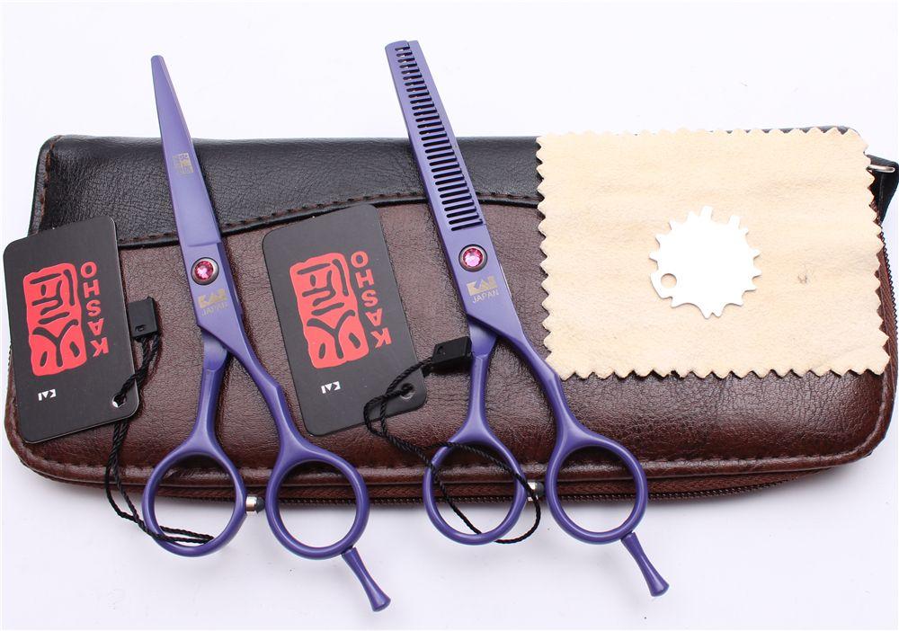 "H1013 5.5"" 16cm Japan Kasho Purple Professional Human Hair Scissors Barbers' Hairdressing Scissors Cutting Thinning Shears Salon Style Tools"