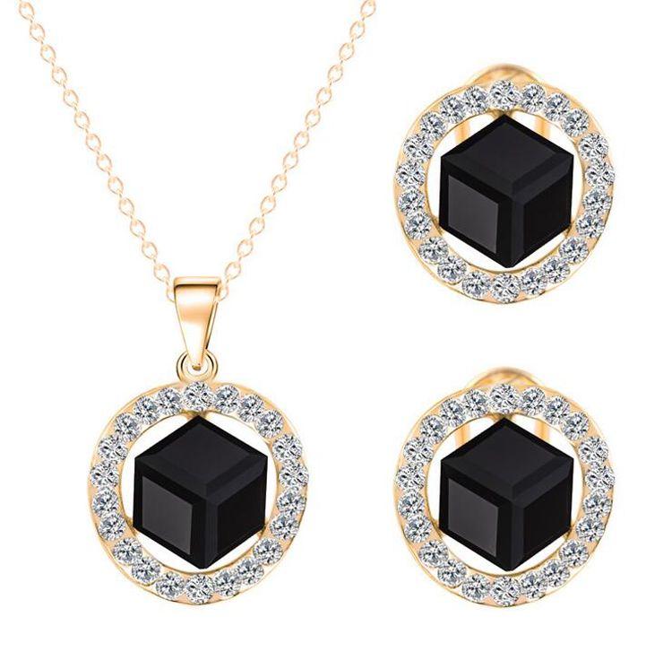 Fijne sieraden sets Crystal ketting oorbellen sets voor vrouwen vierkante vorm zirkoon jewlery top verkoop jewlery sets 32T10