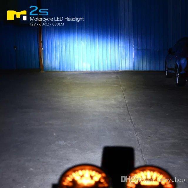 Горячие Продажи Супер Яркие 6 Вт * 2 12 Вт Светодиодная фара COB Высокий Луч Низкий Луч для мотоцикла 6-80V