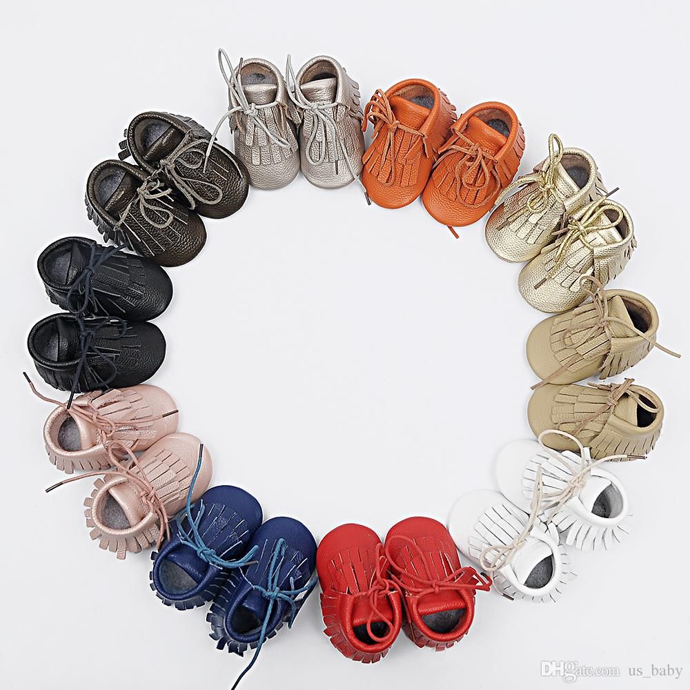 retail baby Genuine leather Double tassel Boot infant moccasins booties kids soft shoes Toddler birthday gift