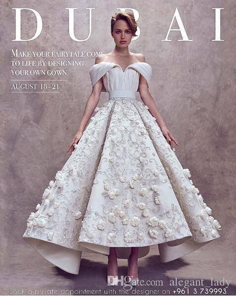 Ashi Studio Ball Kleid Abendkleider Custom Make Vollständig 3D Blumenstickerei aus Schulter Dubai Arabisch Knöchellangen Abschlussballkleid