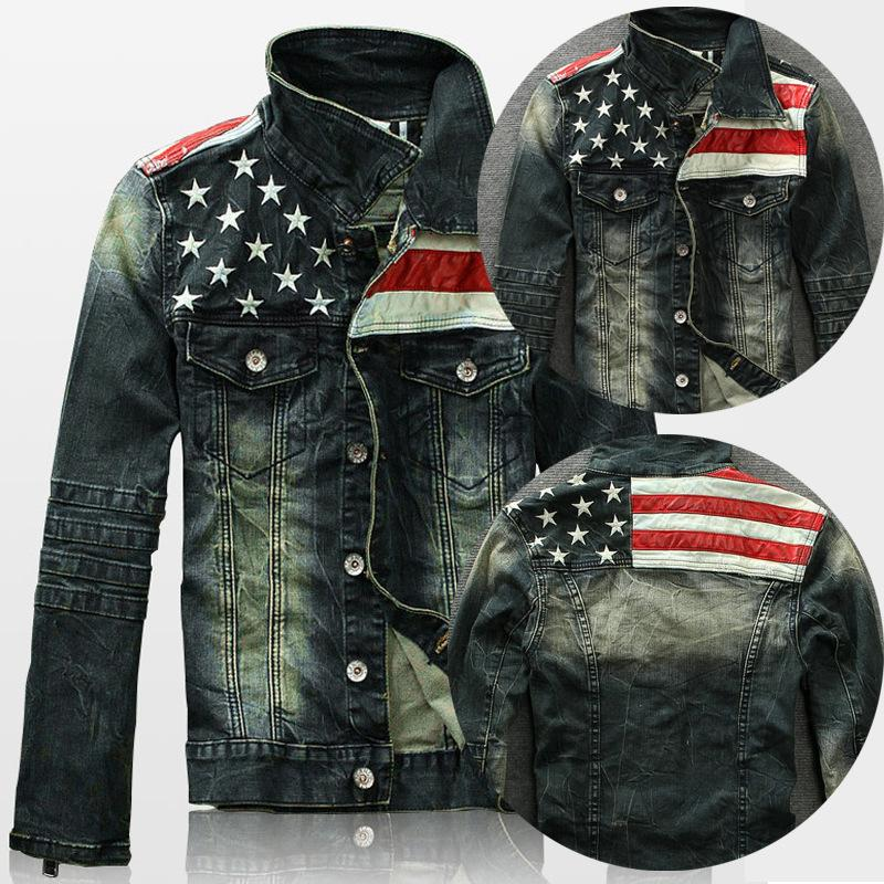 New Mens American Flag Suit Jeans Jacket Pu Leather Patchwork ...