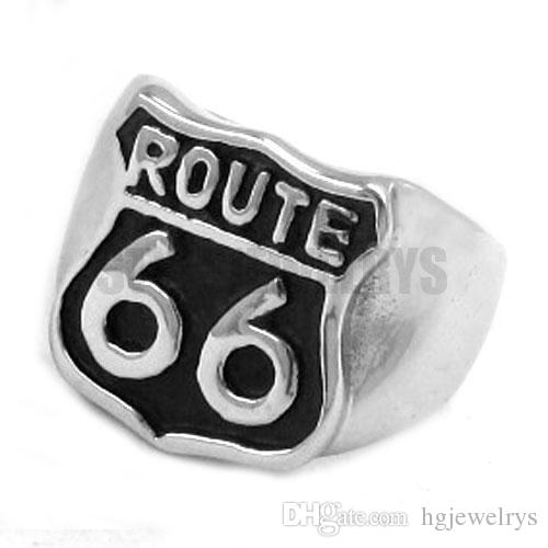 ! Route 66 Ring Mother Road USA Highway Motor Biker Ring Stainless Steel Jewelry Historic Route 66 Ring SWR0277H