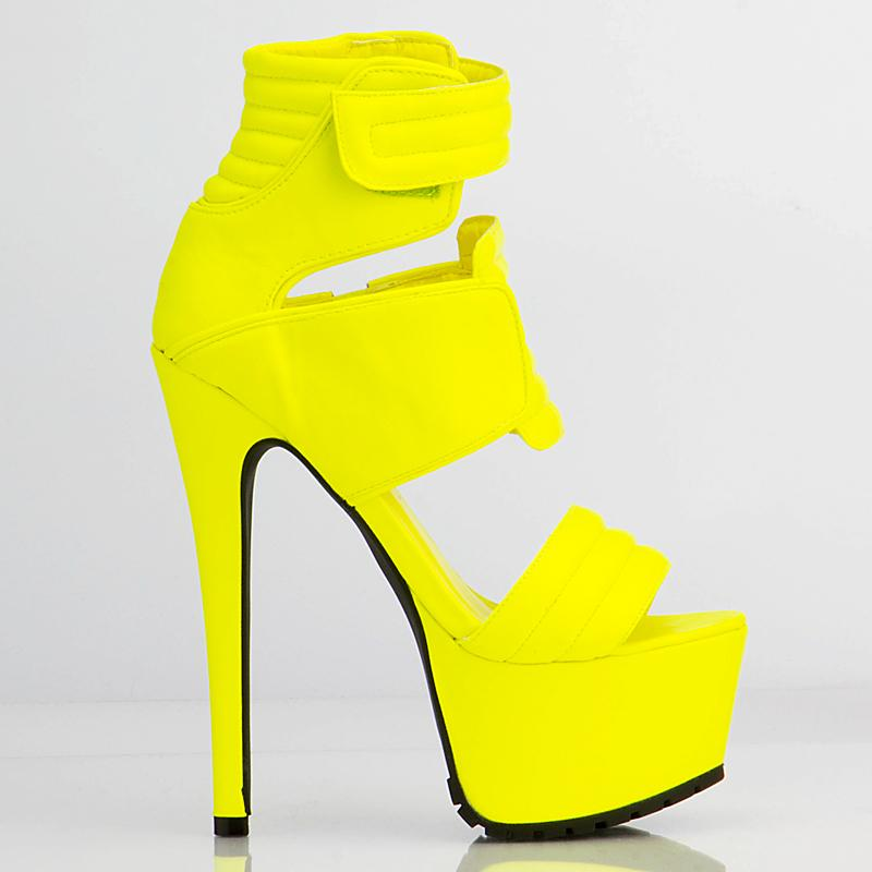 Yellow Sexy Fashion Woman Shoes High Heels Sandals High Platform ...