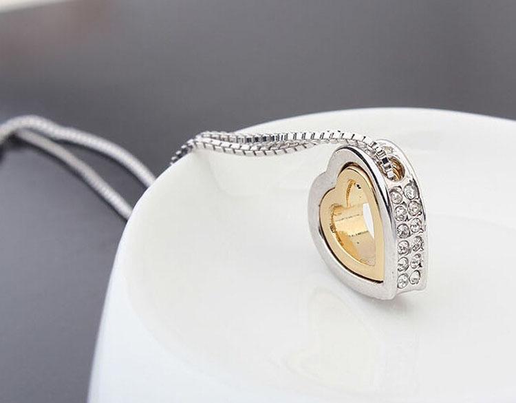 Halskette anhänger mode frauen herz kristall charme anhänger kette halskette versilbert schmuck ketten halsketten