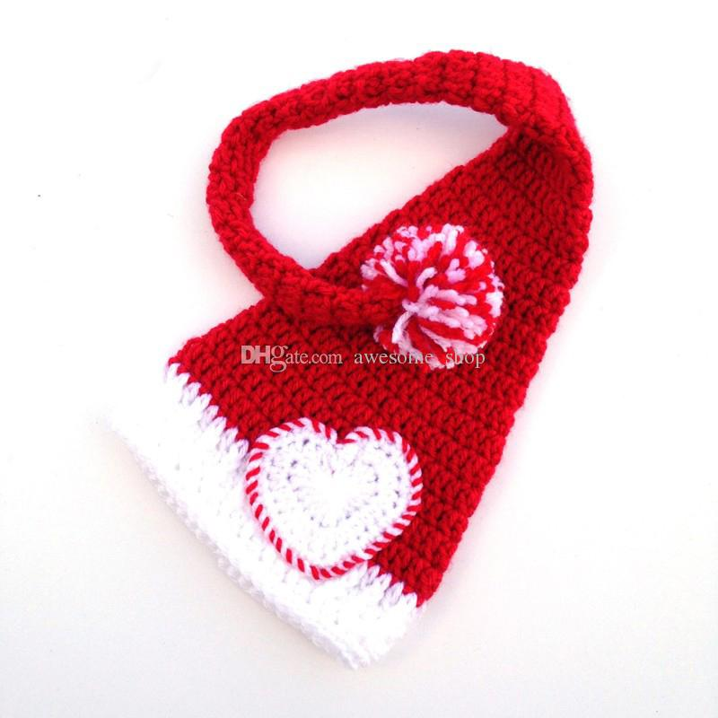 Handmade Crochet Red White Santa Elf Hat,Baby Boy Girl Christmas Long Tail Pompon Hat,Valentine Heart Pixie Hat,Infant Photo Prop