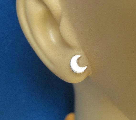 6df0da2082af4 10Pair- S020 Gold Silver Cute Crescent Moon Stud Earrings Simple Tiny Half  Moon Stud Earrings Jewelry for Women