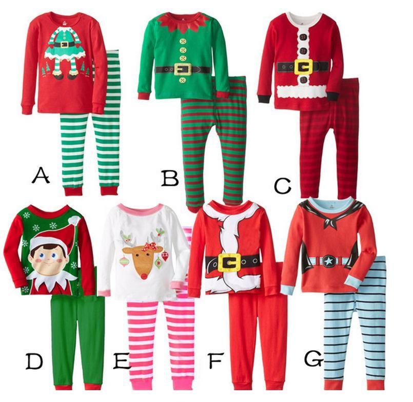 2017 New Elf Baby Boys Girls Christmas Santa Pajamas Shirt & Pants ...