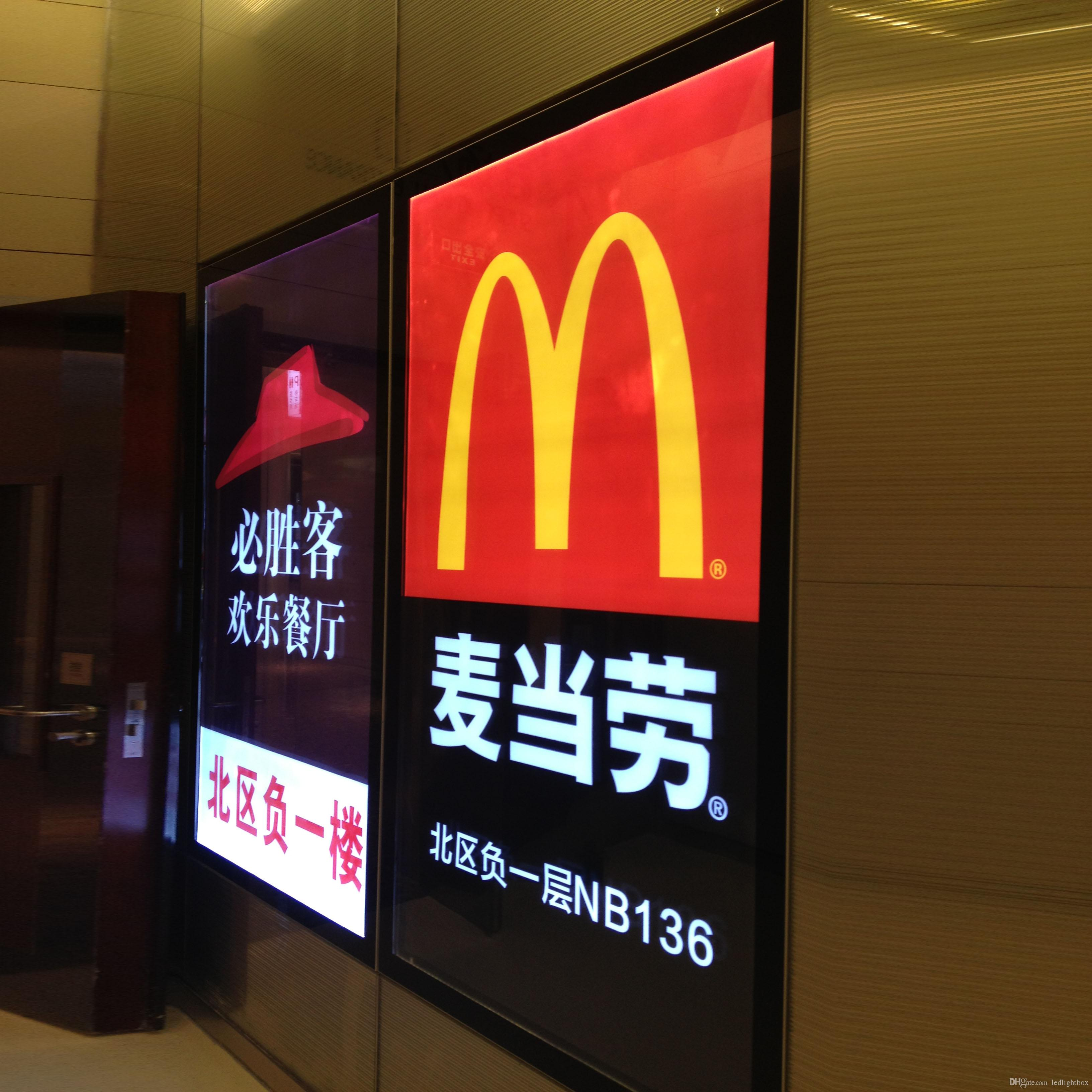 2017 restaurant chains decoration led advertising light boxes and
