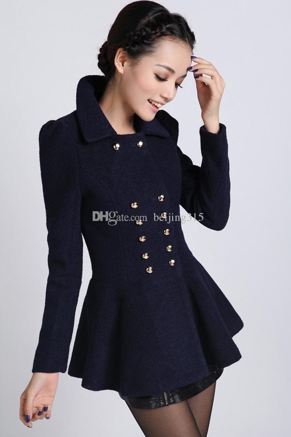 Elegancki 2014 Nowy Plus Rozmiar Płaszcze Zimowe Koreańskie Kobiety Panie Tunika Peplum Płaszcz Wełny Slim Wełniany Płaszcz Rozmiar S-2XL