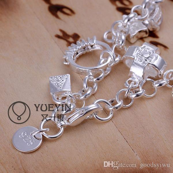Hot Charm Bracelet 925 Silver Fine Bracelet Big Crystals 13 Charms Heart Rings PadLock Pendants Bracelet H144