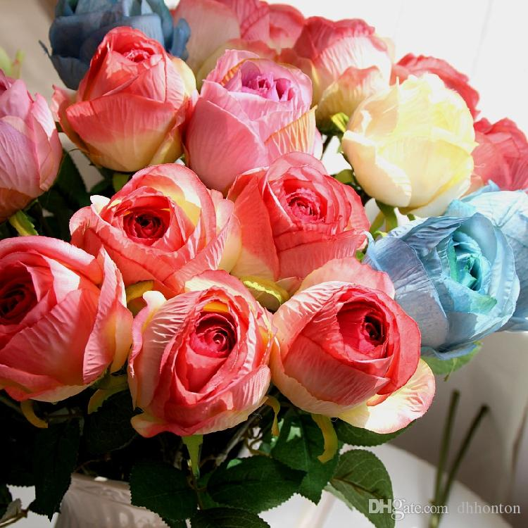 California Artificial Rose Silk Craft Flowers Real Touch Flowers For Wedding Christmas Room DecorationCheap Sale
