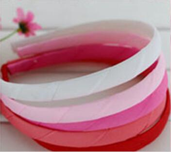 hot sale Children Colored Satin Ribbon Covered Hairbands,Headbands With Ribbon Covered Plastic Hairband Girls Hair Accessorise,15 mm