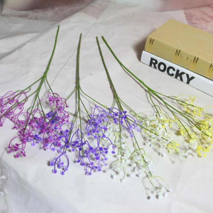 45CM Gypsophila Fleur Artificielle Bouquet De Mariée Souffle De Bébé Artificielle Faux Soie Plante Fleurs pour La Maison De Mariage Décoration NN