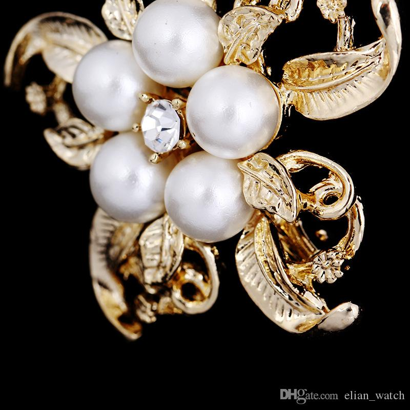 Bouquet Brooches Pins Bridesmaid Flower Wedding Dress Pearl Rhinestone Brooch Jewellery Fashion Women brooch pieces wholesale