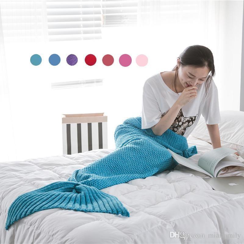 16 ألوان 90 * 50 سنتيمتر البطانيات حورية البحر الذيل محبوك بطانية أطفال اليدوية الكروشيه بطانية رمي السرير التفاف كيس النوم
