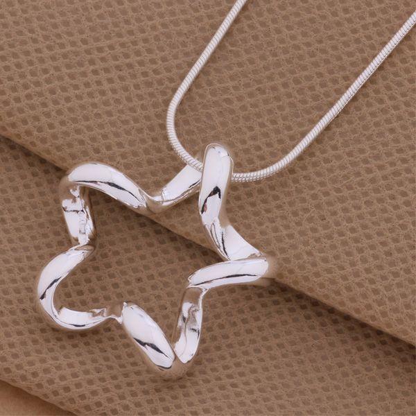 Envío gratis con número de seguimiento Mejor venta caliente de la mujer delicado regalo joyería 925 Plata hueco de cinco puntas collar de la estrella