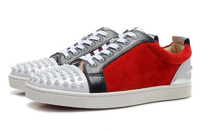371579f8c702 New 2015 Men And Women White Spiked Toe Red Matter Leather Red ...