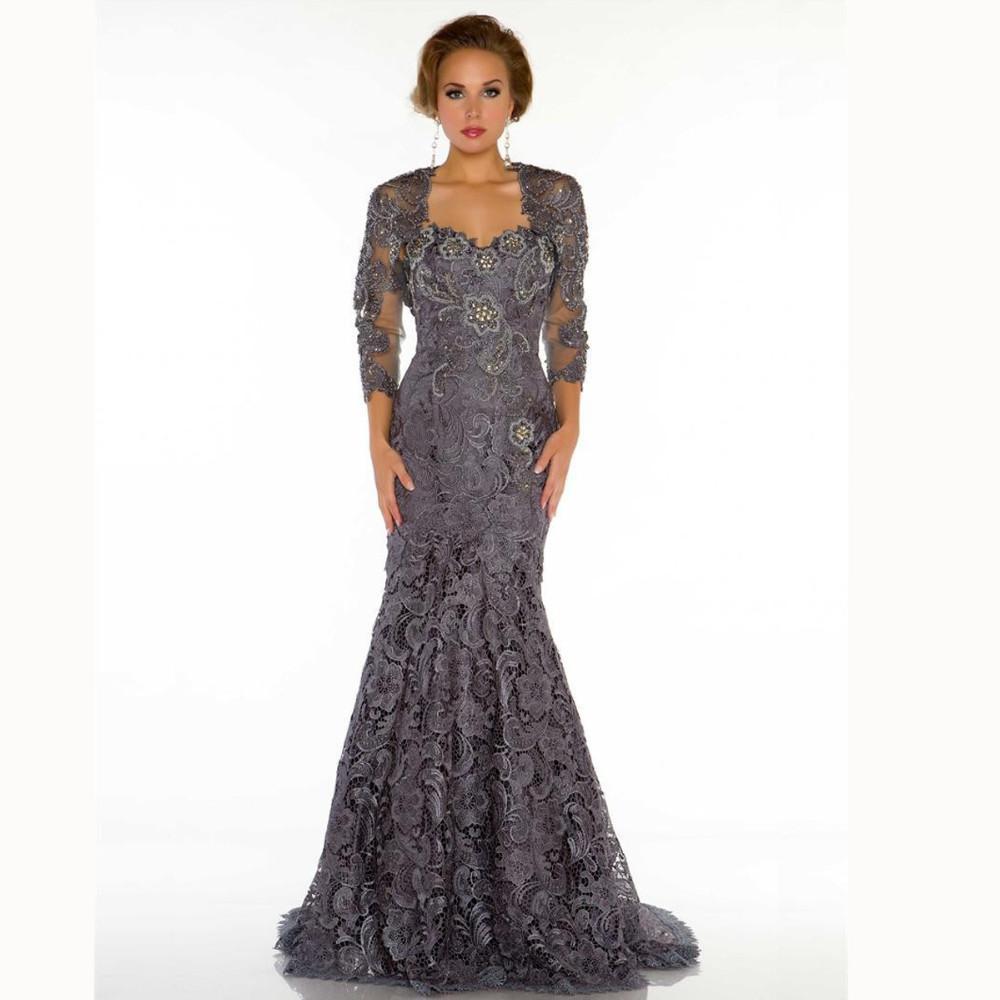 Dark grey mother off bride dresses with jackets long for Dark grey wedding dresses
