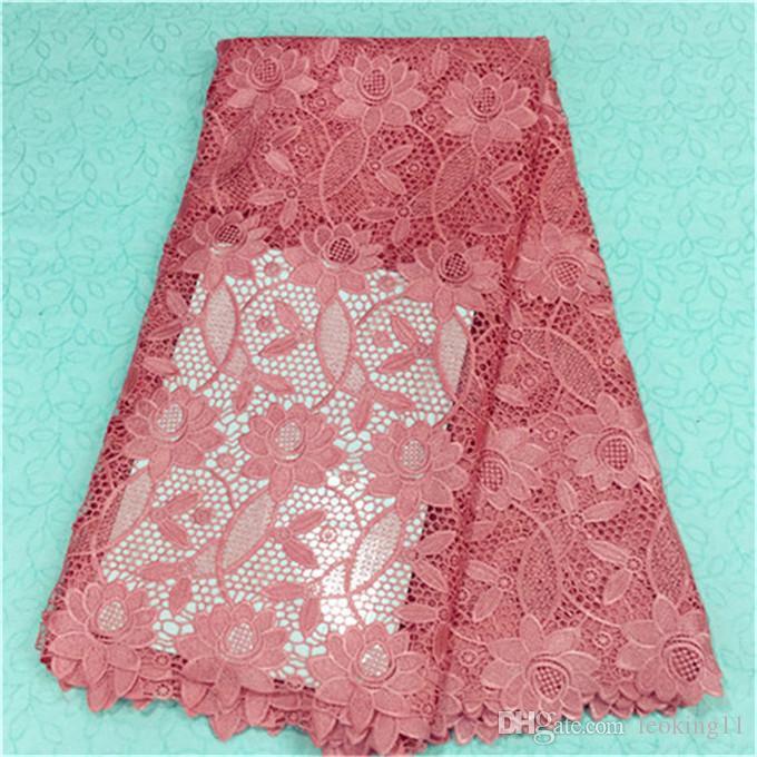 Новая мода синий африканская вышивка водорастворимая кружевная ткань с цветочным гипюром кружевной ткани для вечернего платья BW14-3,5 ярдов / шт