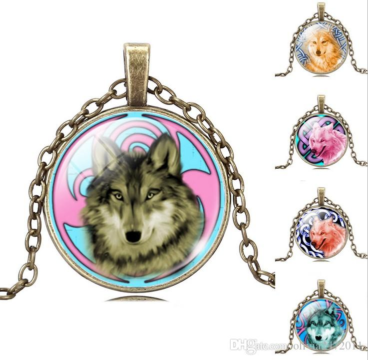Glass Cabochon Wolf Acrylic Pendant Bronze Chain Necklace Art Picture Vintage Jewelry Gift Statement Necklace For Women Long Sweater Necklac