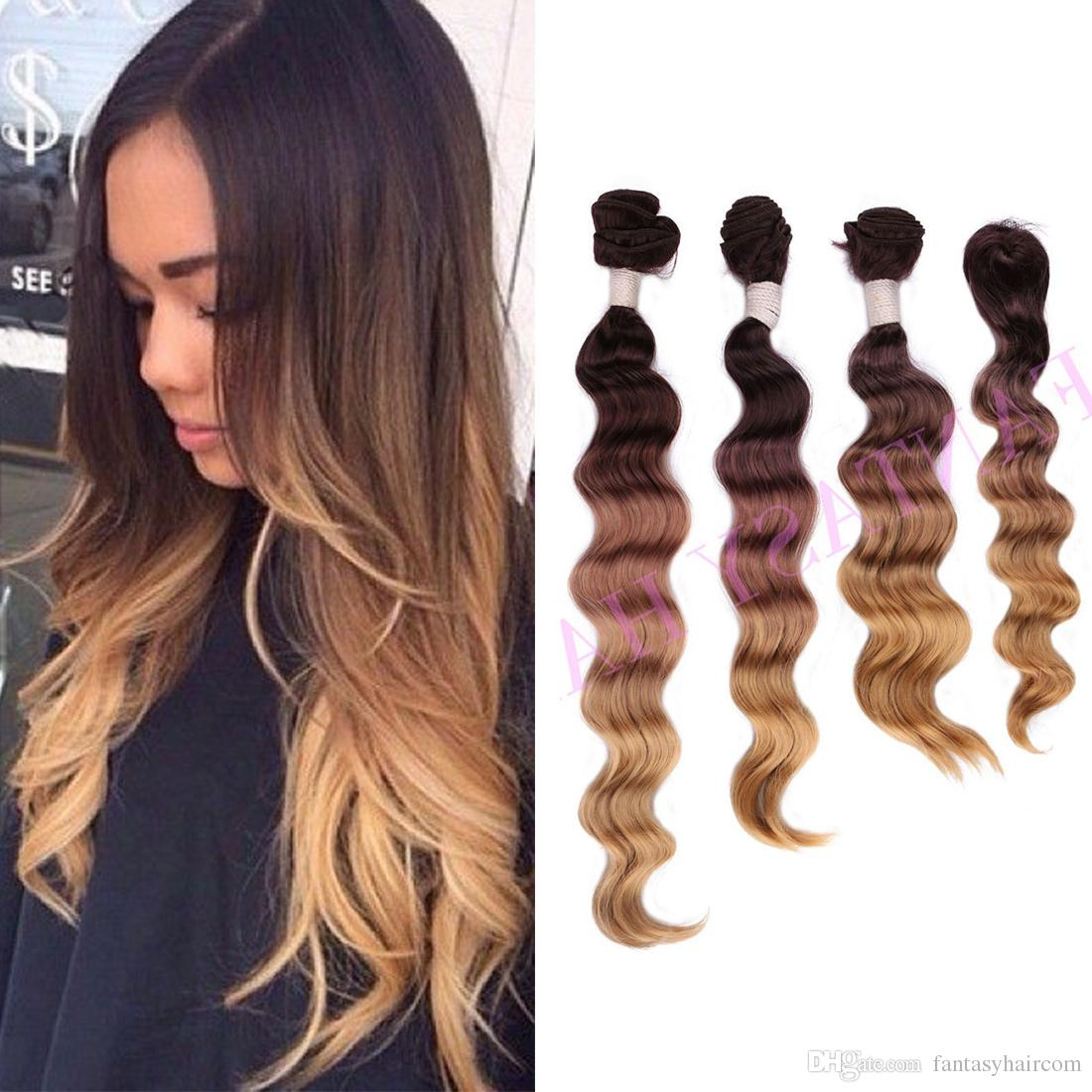 Heat Resistant No Shedding Light Brown Ombre Brazilian Loose Wave Weave  With Closure Synthetic Hair Extensions Weft Pieces Weaving P09219 Black  Hair Weave ... Home Design Ideas